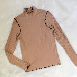 Zara Tan Ribbed Turtleneck Long Sleeve Shirt